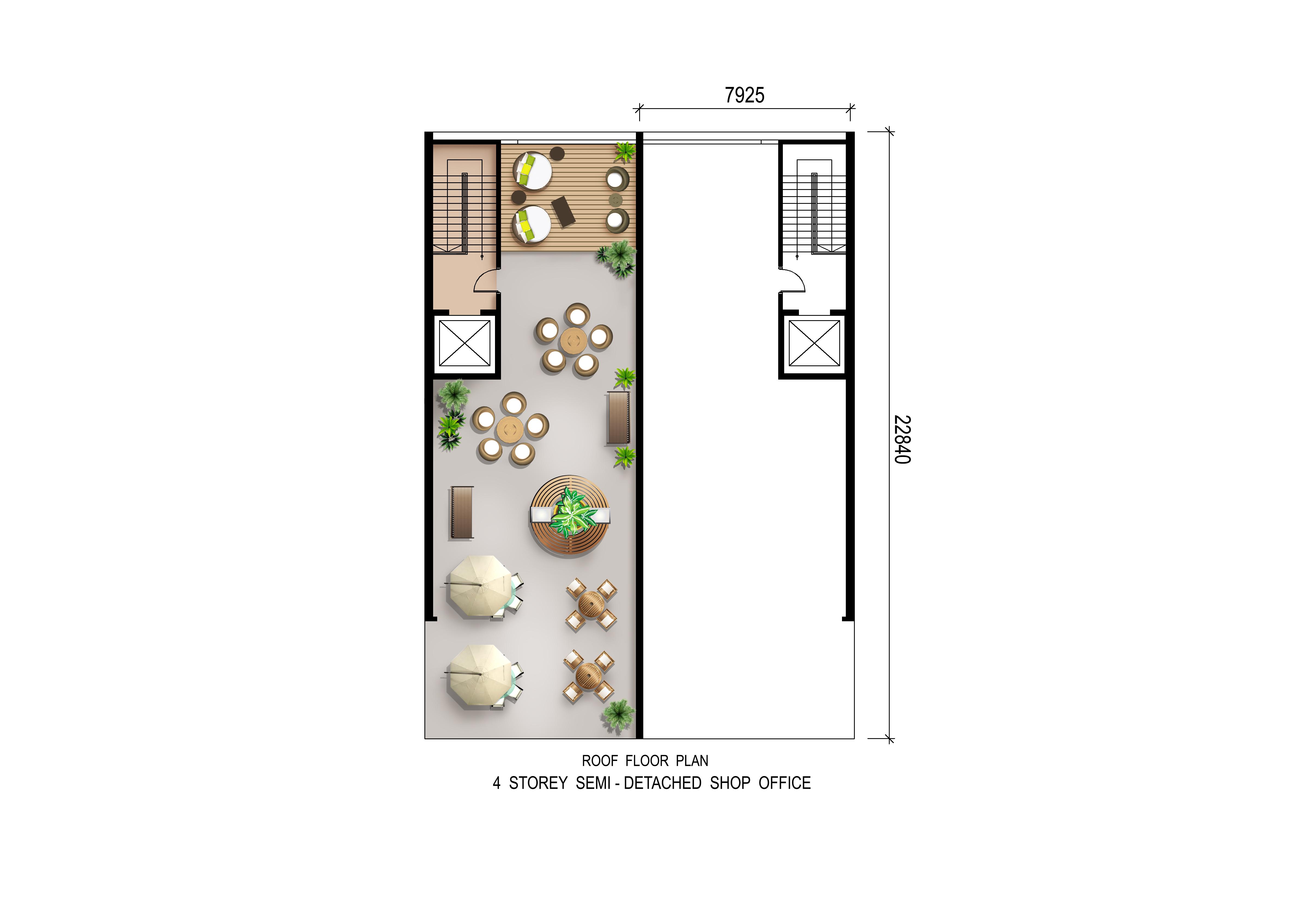 4 Storey Semi D Shop Office (Roof Plan)
