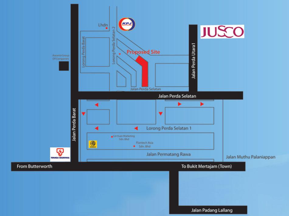 bandar_perda_shop_office_location_map